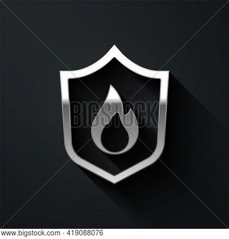 Silver Fire Protection Shield Icon Isolated On Black Background. Insurance Concept. Security, Safety