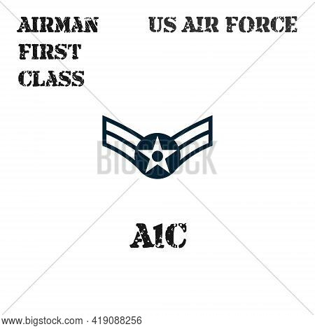 Realistic Vector Badge Of The Armband Of The Chevron Of The Airman First Class Of The Us Air Force