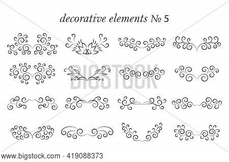 Vector Set Of Decorative Elements With Flourishes, Curls. Design Elements In Black Isolated On White