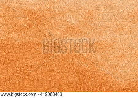Copper Gold Velvet Background Or Golden Yellow Velour Flannel Texture Made Of Cotton Or Wool With So