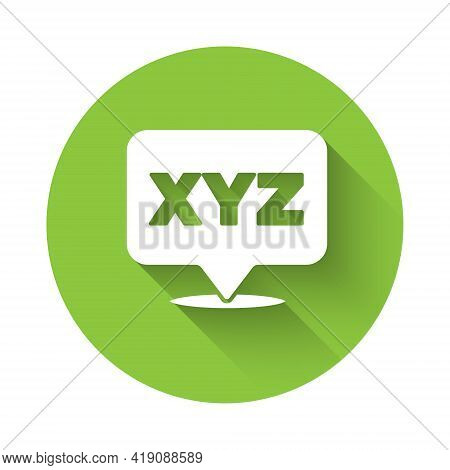White Xyz Coordinate System Icon Isolated With Long Shadow. Xyz Axis For Graph Statistics Display. G