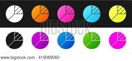 Set Pie Chart Infographic Icon Isolated On Black And White Background. Diagram Chart Sign. Vector