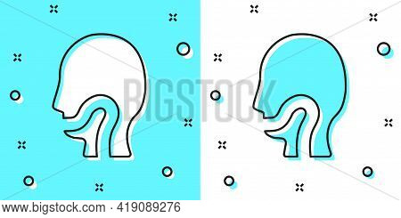 Black Line Sore Throat Icon Isolated On Green And White Background. Pain In Throat. Flu, Grippe, Inf