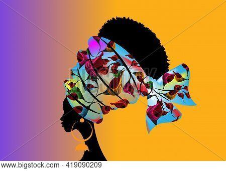 Portrait Beautiful African Woman In Traditional Turban Handmade Tribal Motif Wedding Flowers, Kente