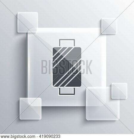 Grey Sewing Thread On Spool Icon Isolated On Grey Background. Yarn Spool. Thread Bobbin. Square Glas