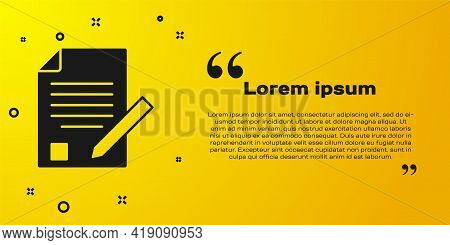 Black Exam Sheet And Pencil With Eraser Icon Isolated On Yellow Background. Test Paper, Exam, Or Sur