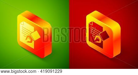 Isometric Exam Sheet And Pencil With Eraser Icon Isolated On Green And Red Background. Test Paper, E