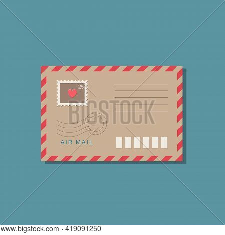 Beige Craft Paper Envelope With Frame Of Red Stripes. Postage Stamp, Postmark With Red Heart On Brow