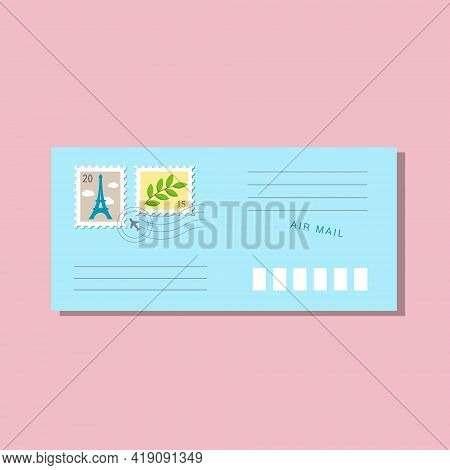 Blue Long Envelope, Postmarks And Postage Stamps, Eiffel Tower With Clouds And Branch With Green Lea