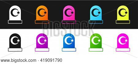 Set Muslim Cemetery Icon Isolated On Black And White Background. Islamic Gravestone. Vector