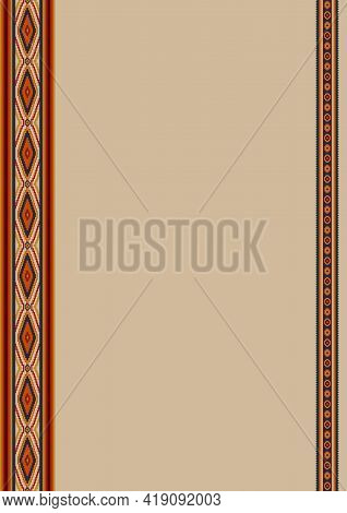 Mexican Style Ethnic Pattern Background With Copy Space For Text. Design Template For Mexican Restau