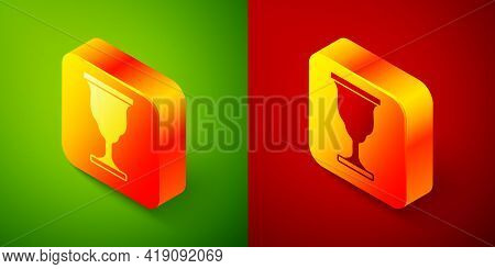 Isometric Christian Chalice Icon Isolated On Green And Red Background. Christianity Icon. Happy East