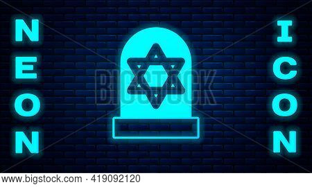 Glowing Neon Tombstone With Star Of David Icon Isolated On Brick Wall Background. Jewish Grave Stone