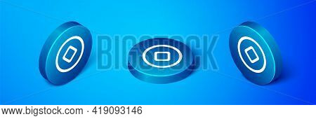 Isometric Chinese Yuan Currency Symbol Icon Isolated On Blue Background. Coin Money. Banking Currenc