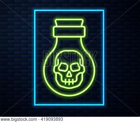 Glowing Neon Line Poison In Bottle Icon Isolated On Brick Wall Background. Bottle Of Poison Or Poiso