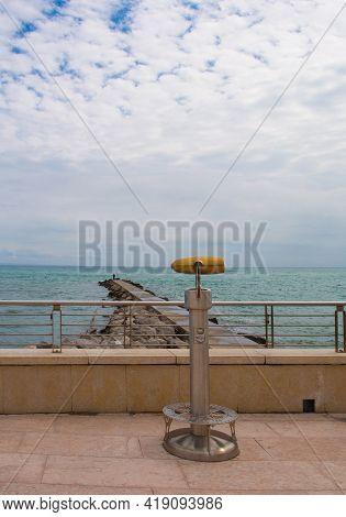 Viewing Binoculars At The Coast Of Grado In Friuli-venezia Giulia, North East Italy