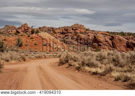 Dirt Road Intersection Through The Southern Utah Country Side On The Way To Buckskin Gulch