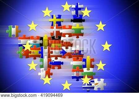Puzzle Map Of The Eu Countries. Flags Of The Eu Countries. Unification Of Europe. Concept For Design