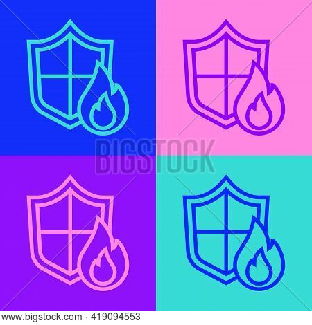 Pop Art Line Fire Protection Shield Icon Isolated On Color Background. Insurance Concept. Security,
