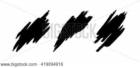 Dynamic Chalk Templates. Black Chalk Textures Isolated In White Background. Flat Vector Illustration