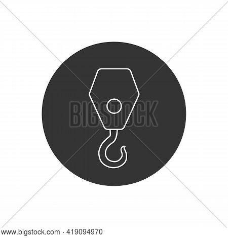 Black Industrial Hook Line White Icon Isolated On White Background. Crane Hook Icon. Vector Illustra