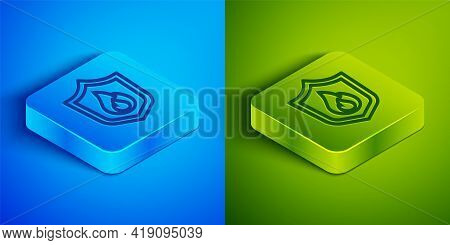Isometric Line Fire Protection Shield Icon Isolated On Blue And Green Background. Insurance Concept.