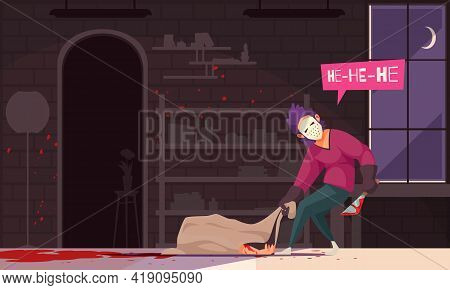 Homicide Crime Investigation Detective Work Cartoon Composition With Murderer Dragging Sack With Kil