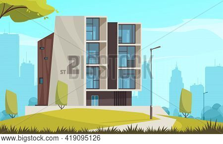 Modern Urban Housing Architecture Cityscape Background Cartoon Composition With Free Standing Detach