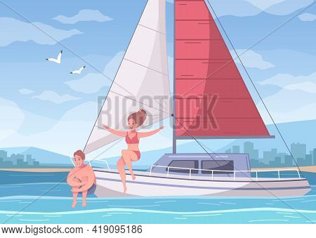 Yachting Cartoon Composition With Sea Landscape And Couple Of Lovers On Yacht With Cityscape On Back