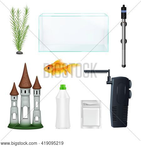 Realistic Set With Empty Aquarium Goldfish Plant Bottle Decoration And Equipment Isolated On White B