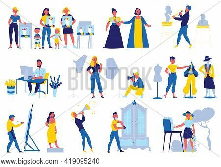 Creative Professions Set With Artist And Singer Flat Isolated Vector Illustration