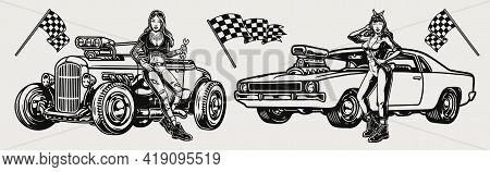 Retro Custom Cars Vintage Monochrome Concept With Checkered Flags Beautiful Girls With Spanners Hot