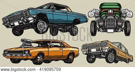 Retro Custom Cars Colorful Vintage Concept With Hot Rod Muscle And Lowrider Automobiles Isolated Vec