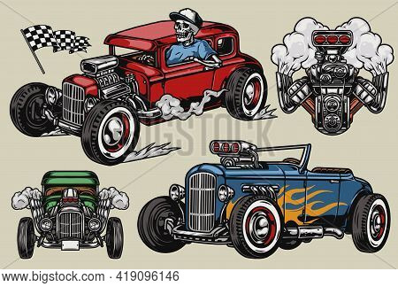 Retro Custom Cars Vintage Colorful Concept With Racing Checkered Flag Hot Rod Automobiles Powerful H