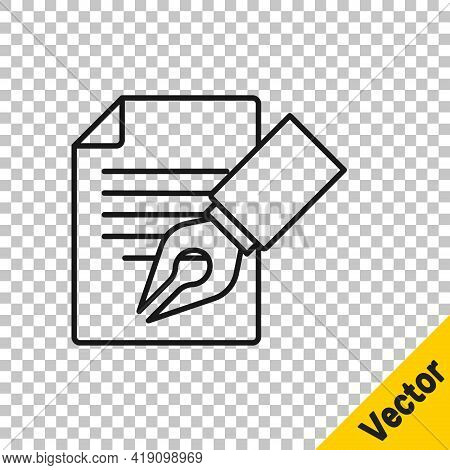 Black Line Exam Sheet And Pencil With Eraser Icon Isolated On Transparent Background. Test Paper, Ex