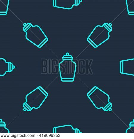 Green Line Funeral Urn Icon Isolated Seamless Pattern On Blue Background. Cremation And Burial Conta
