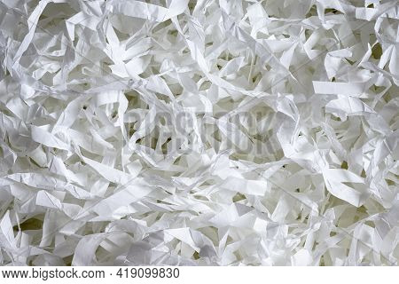 Paper Texture Background, Top View Of Many White Paper Strips. Pile Of Cut Paper Like Confetti For P