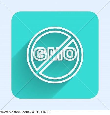 White Line No Gmo Icon Isolated With Long Shadow. Genetically Modified Organism Acronym. Dna Food Mo