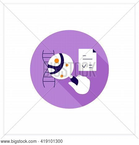 Genetic Testing Flat Icon. Medical Test. Identifies Changes In Chromosomes, Genes, Proteins. Examini