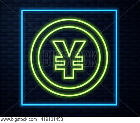 Glowing Neon Line Chinese Yuan Currency Symbol Icon Isolated On Brick Wall Background. Coin Money. B