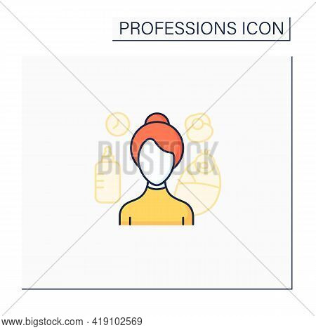 Nanny Color Icon. Woman Provides Child Care.babysitter. In Home Childcare.important Job.professions
