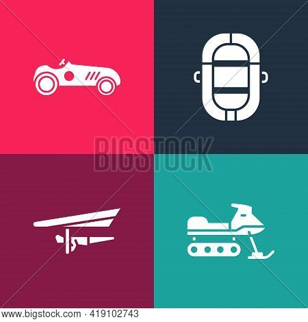 Set Pop Art Snowmobile, Hang Glider, Rafting Boat And Vintage Sport Racing Car Icon. Vector