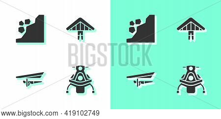 Set Snowmobile, Landslide, Hang Glider And Icon. Vector
