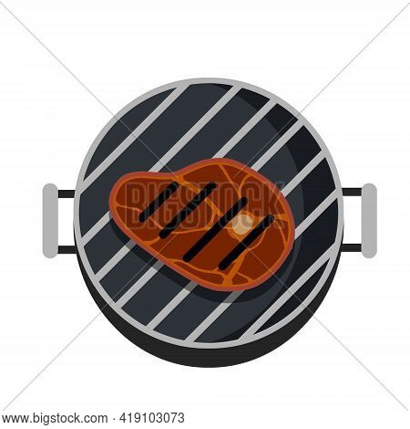 Grilled Meat On Grill. Steak And Barbecue Of A Strong Roast. Piece Of Food Cuts. Flat Cartoon Illust