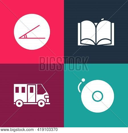 Set Pop Art Ringing Alarm Bell, School Bus, Open Book And Acute Angle Icon. Vector