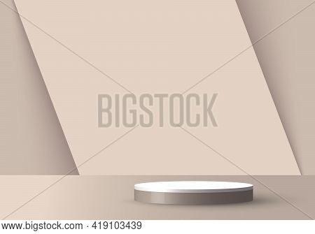 3d Realistic Empty Light Brown And White Round Pedestal Mockup Overlapped On Diagonal Backdrop. Stag