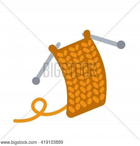 Knitting. Handmade Hobby. Woolen Threads And Orange Yarn. Flat Cartoon Illustration Isolated On Whit