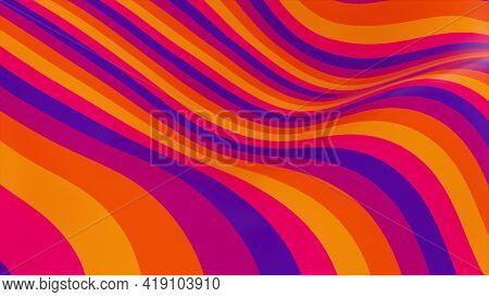 Striped 3d Render Tracery With Wavy Fluid Shape And Dynamic Retro Textures. Geometric Fluid Flow Wit