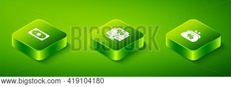 Set Isometric Percent Discount And Monitor, Purse Money Percent And Stacks Paper Cash Icon. Vector