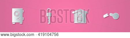 Set Paper Cut Safe, Unlocked Key, House Under Protection And Broken Icon. Paper Art Style. Vector